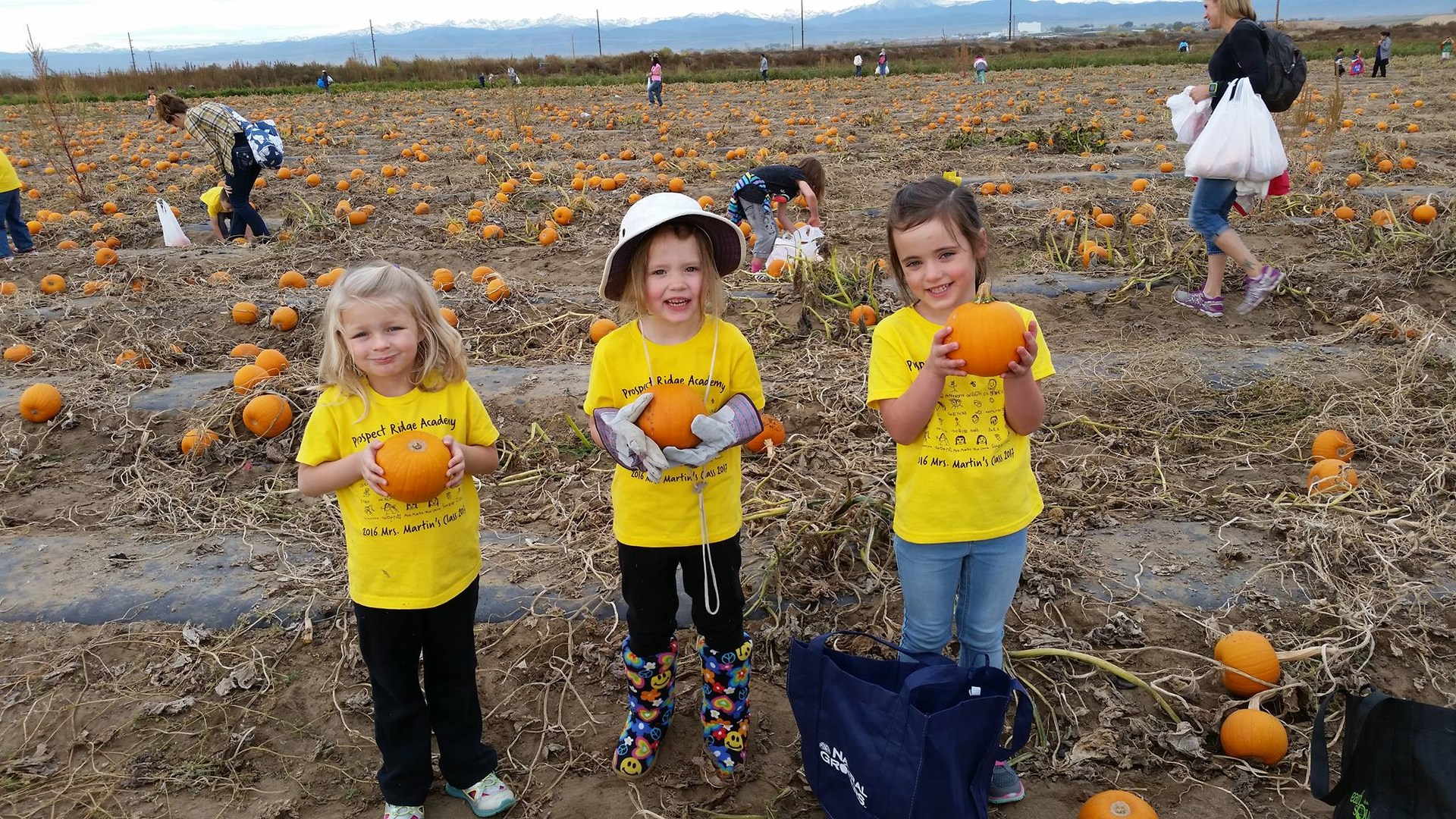 three students holding pumpkins