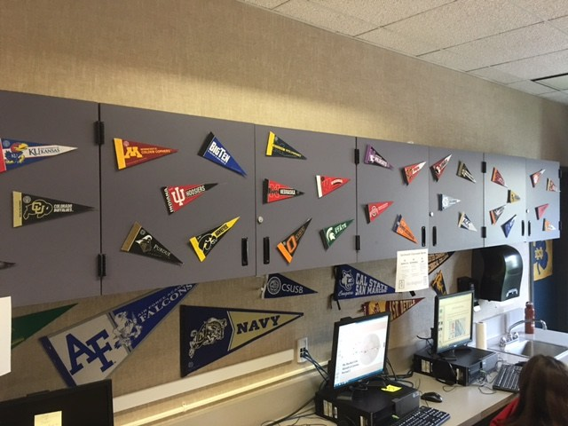 Dartmouth AVID pennants in the classrooms