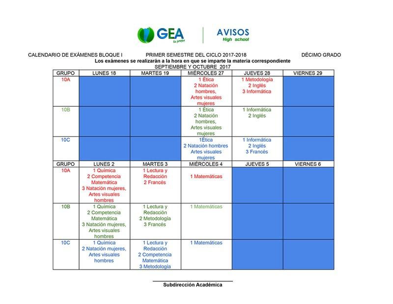 Calendario de exámenes actualizado Thumbnail Image
