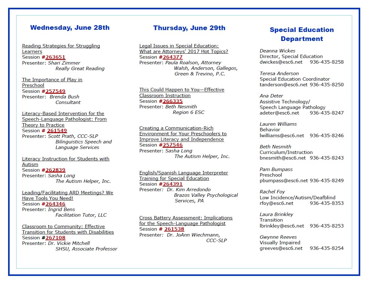 Special Education Summer Series Information