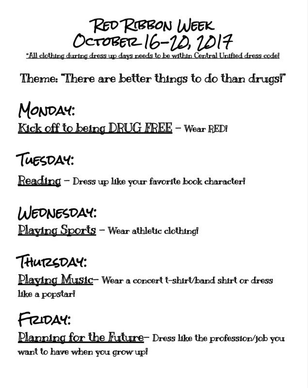 Red Ribbon Week Schedule Flyer