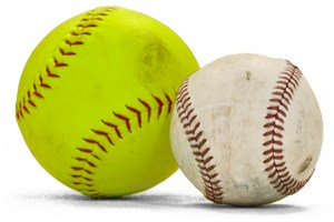 A lime green softball with red stitching next to a white baseball with red stitching. Both balls appear to a scuff marks from actual play. They are on a stark white background with shadow; it looks to be the result of a photo shoot.