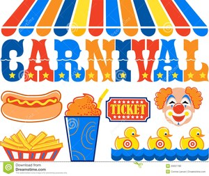 Carnival pictures - hot dog, clown, tent
