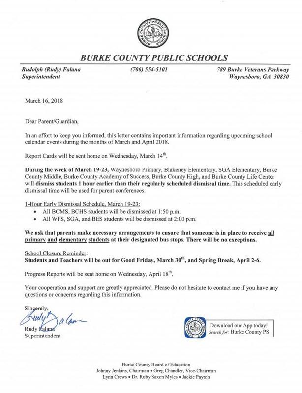 March and April Parent Letter