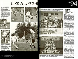 Scanned photo from 1994 Sceptre yearbook - Soccer and Cheerleading pages