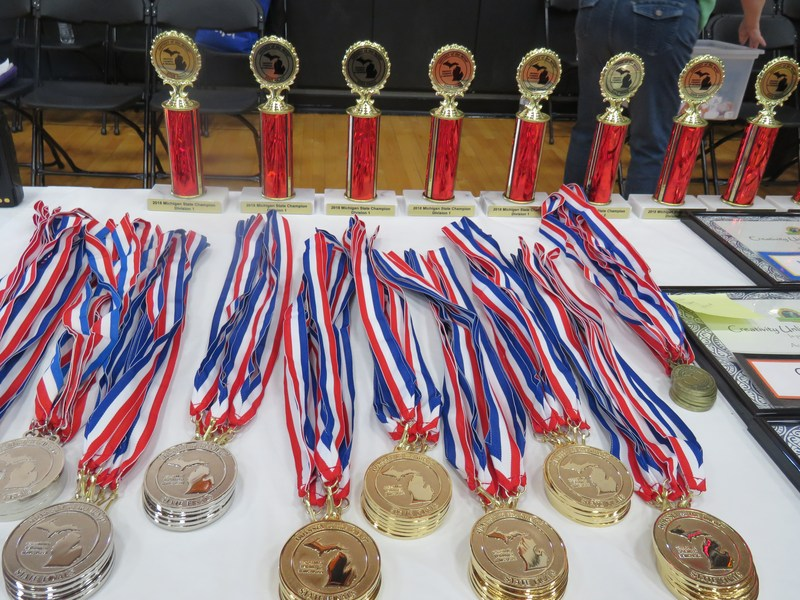 Teams earning first, second or third placings at the state received medals and trophies. Only first and second place teams advance to the world finals.