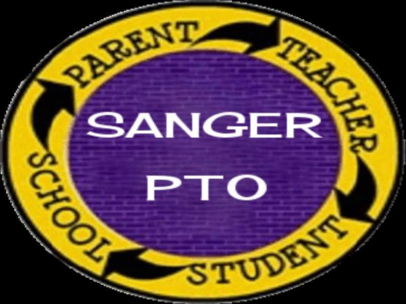 Sanger PTO in a round circle with Parent - Teacher - Student - School around it.
