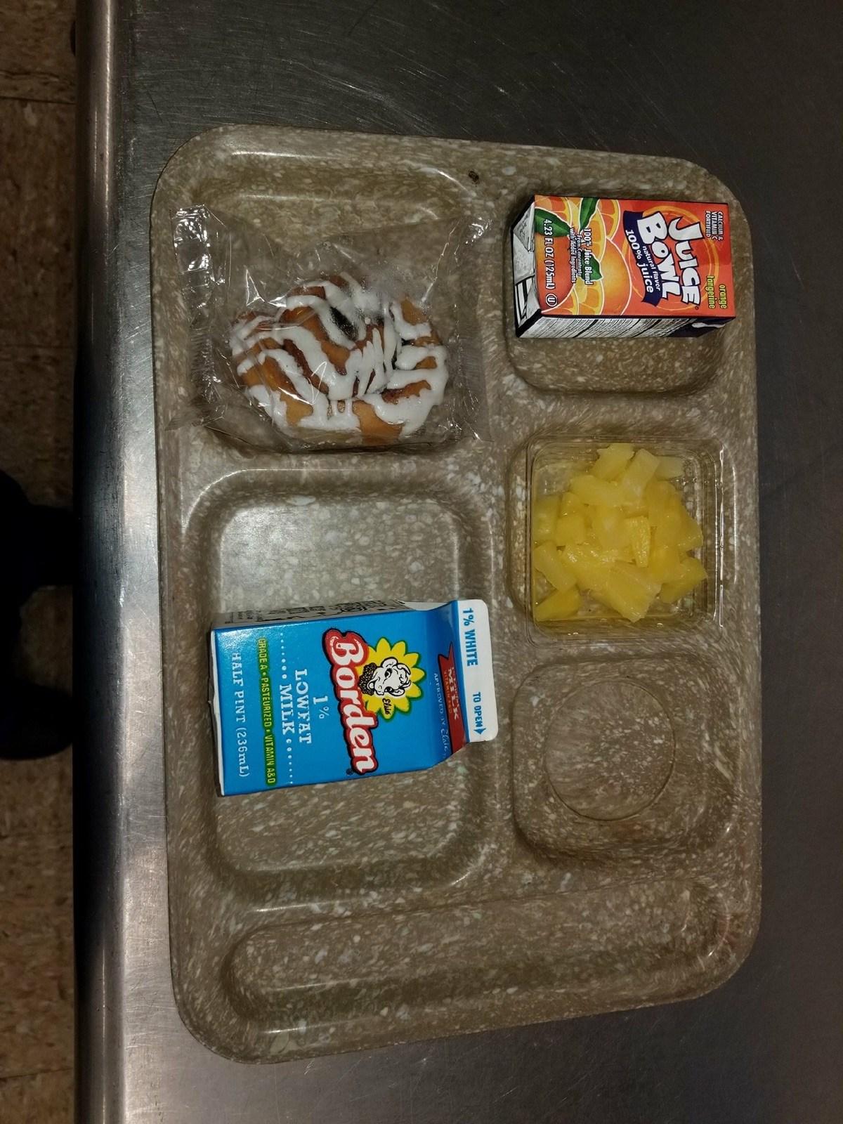 cinnamon roll breakfast tray