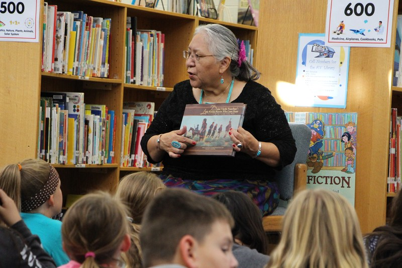Dr. Parsons-Yazzie reads her book to students at Animas Valley Elementary