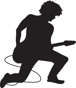Silhouette of a person playing guitar