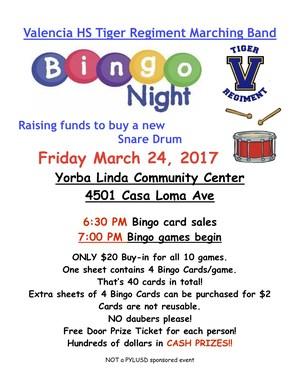 MArching Band Flyer. Bingo Night.