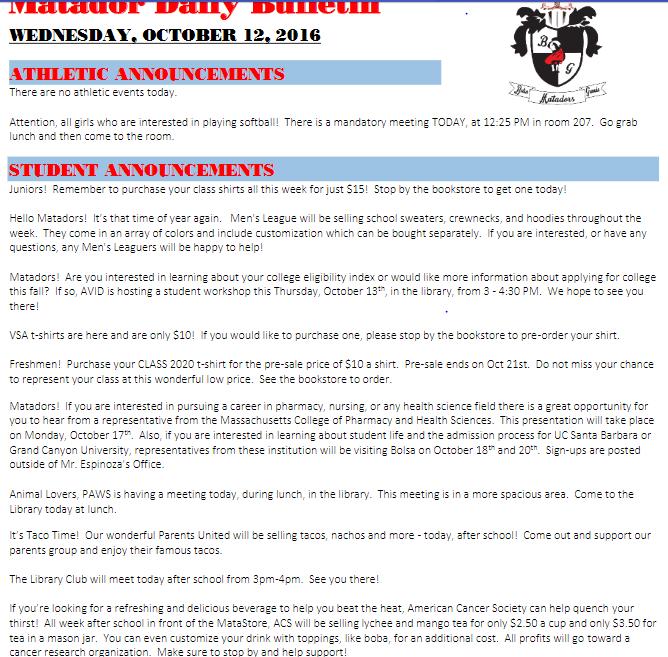 10-12-16 – Daily Bulletin – Bolsa Grande High School