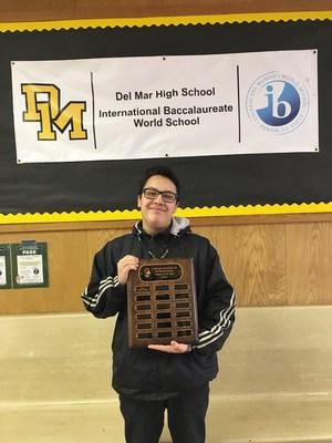 Photo of Diego Cruz, Del Mar's Winner of The California Association of IB World Schools Student of the Year Award