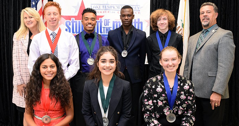 Student of the Month (seated L-R): Sheryl Ghoubrial—EHS; Nathalia Alvarez—LHS; Meagan Newlin—TCHS; back: Heidi Matthies Dodd—LEUSD Trustee member; Jake Hotchkiss—EHS; Roberto Puquirre—LHS; Daniel Tshanda—OHS; Zachary Fortney—TCHS; Kim Joseph Cousins, President/CEO LEVCC.