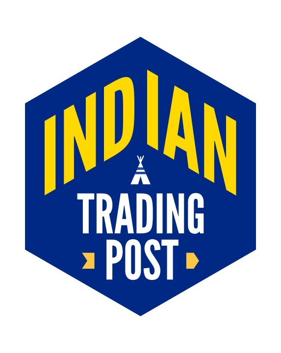 Blue and gold Indian Trading Post logo