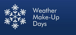 Blue background with white letters and snow flakes for weather makeup day
