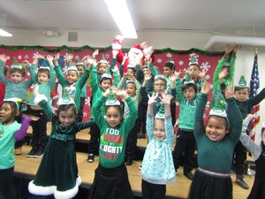 1st grade group 1 signing about christmas trees