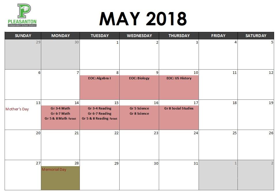May Assessment Calendar