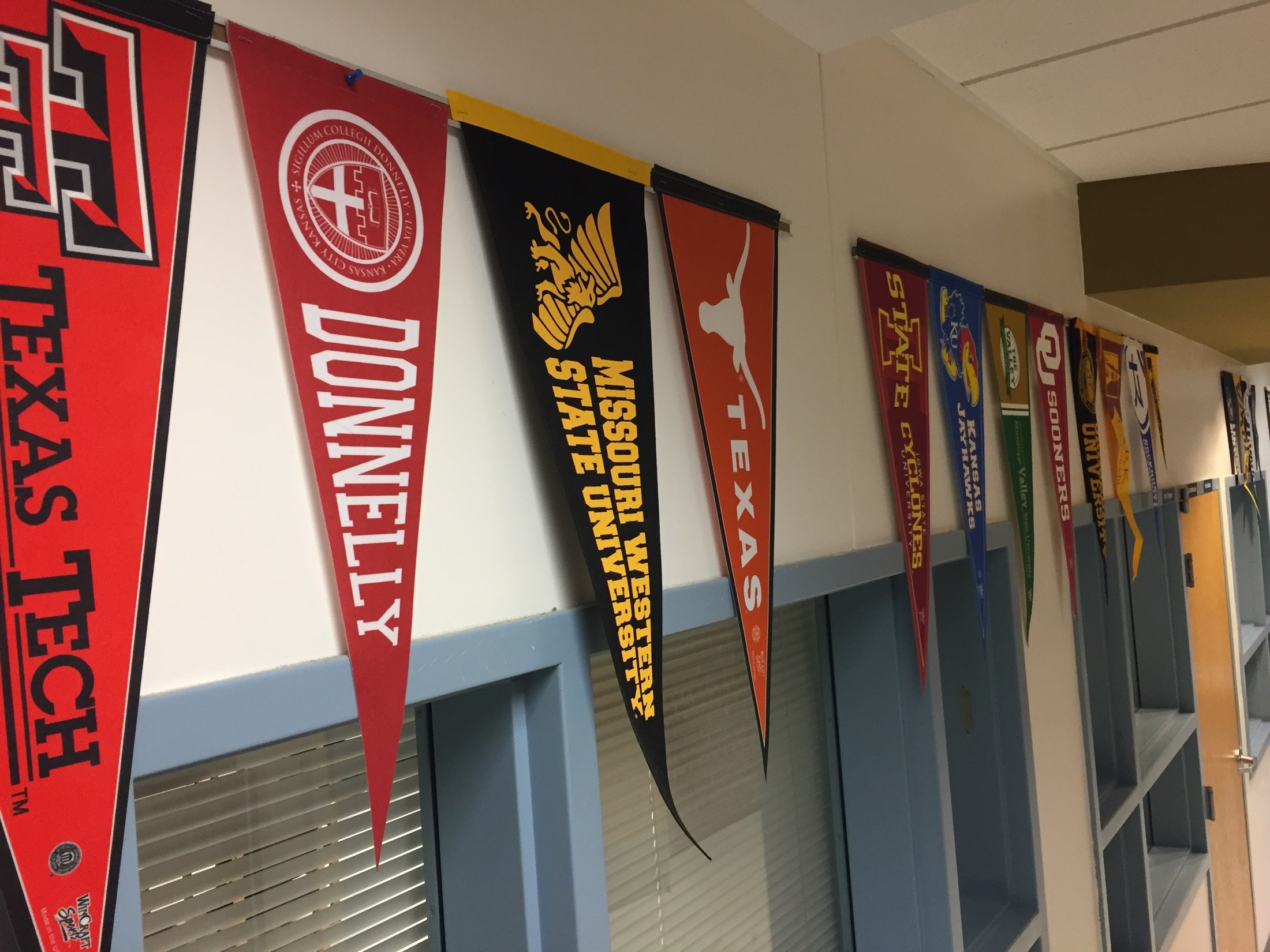 College Banners hanging in hallway