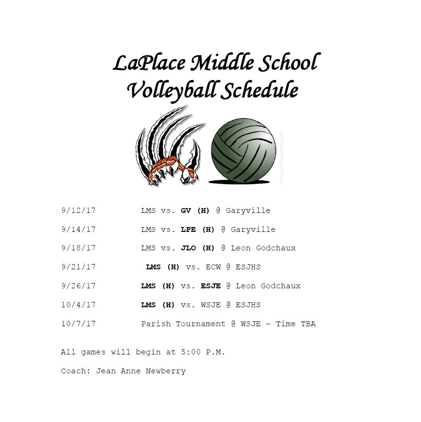 2017 LES Volleyball Schedule
