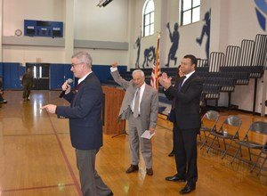 James McGreevey, Johnny Torres and Principal Rudy Baez addressing students