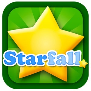 Starfall In blue writing with a green background