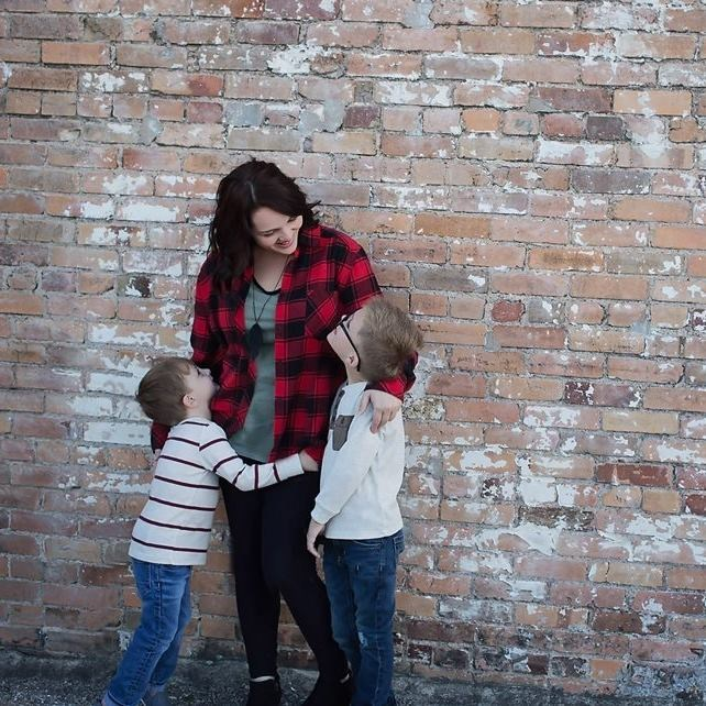 Mrs. Luedke and her two sons