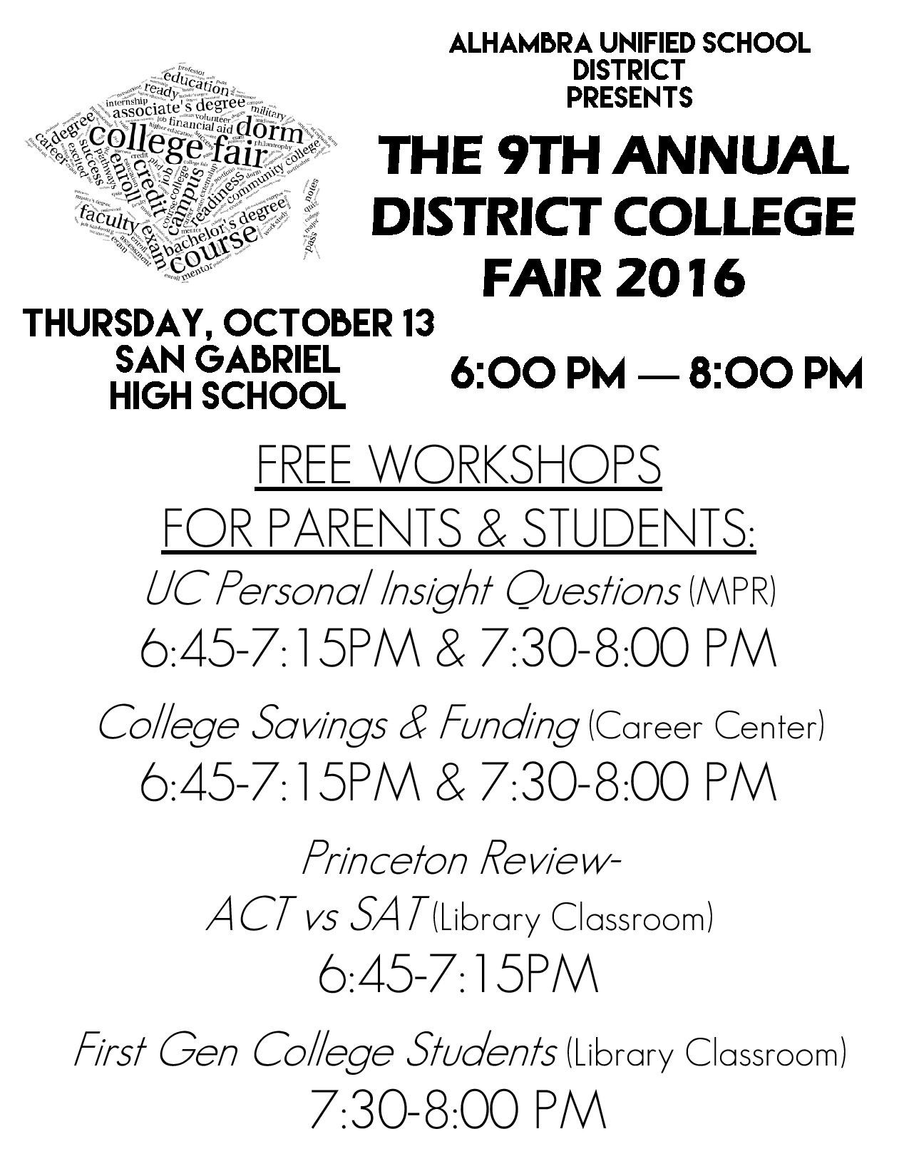 The 9th Anual District College Fair 2016 -Free Workshops Flyer