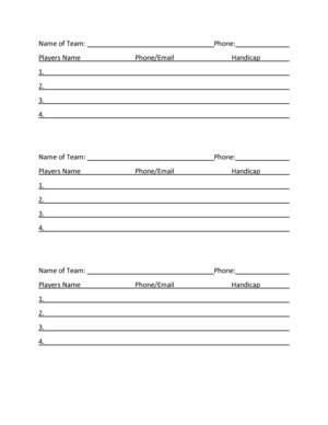 Golf tournament entry form page 2