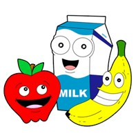 Milk carton, apple and banana