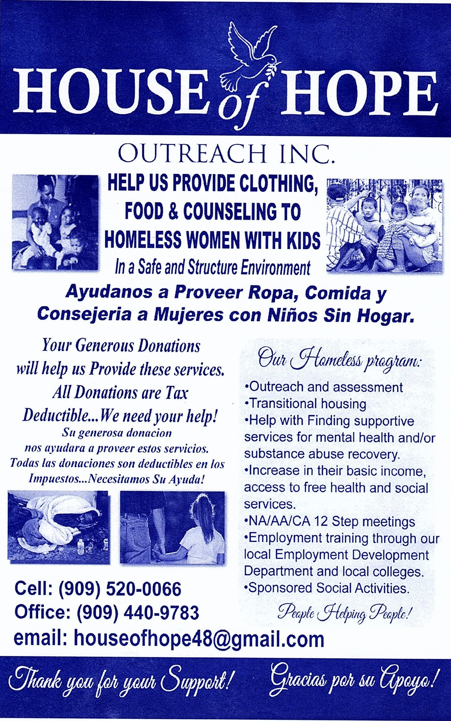 Flyer for House of Hope