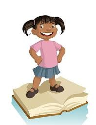 Picture: Girl standing on book.