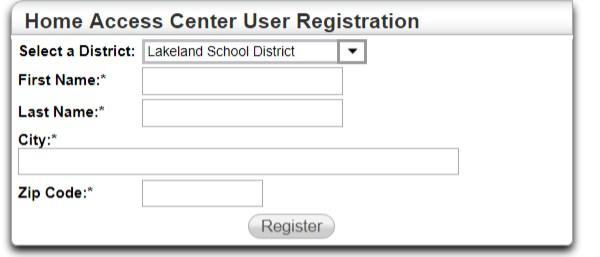 HAC Registration Page