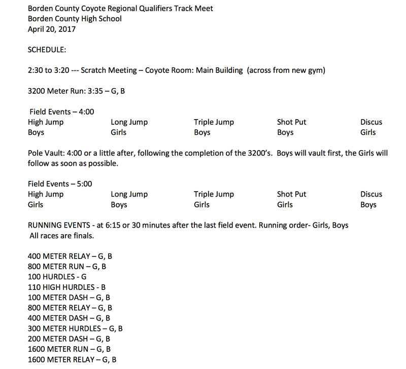 Schedule for Regional Qualifiers' Meet - at Borden County Thumbnail Image