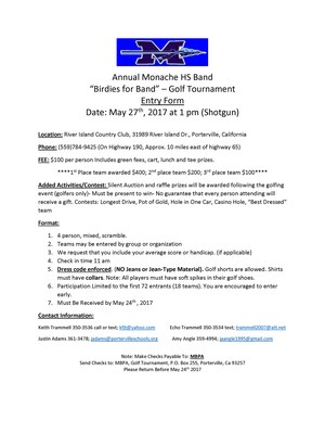 Golf tournament entry form page 1