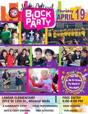Don't miss this popular family-friendly annual event!  The MWISD Multi-Cultural Block Party is Thursday, April 19th from 6-8:00 pm at Lamar Elementary.  The front driveway of Lamar Elementary will be transformed into an outdoor stage with special performances from the Mineral Wells ISD students.