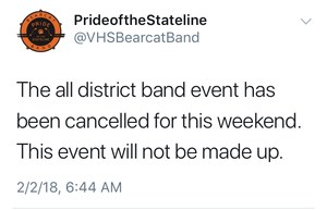 All District Band is cancelled tweet