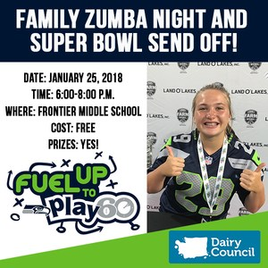 Jessica Williams Fuel Up to Play 60 Family Zumba Night and Super Bowl Send Off graphic. January 25, 2018 at Frontier Middle School from 6-8 p.m., there is no cost and prizes will be available!