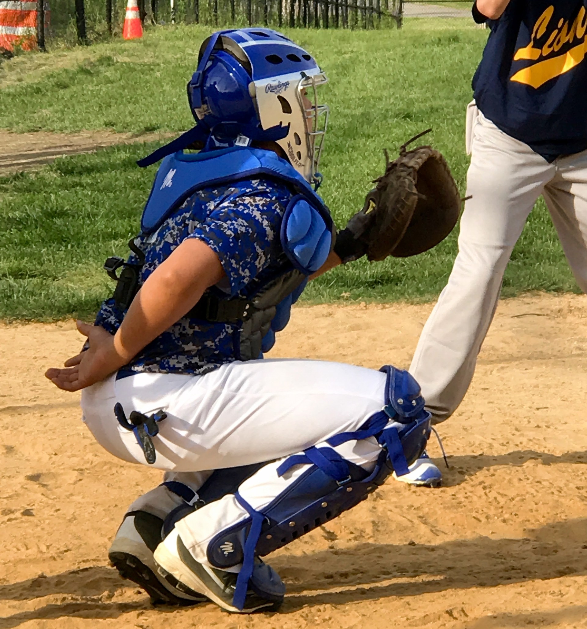 A batcatcher for the baseball team