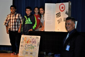 BPUSD_TALK_1: Walnut Elementary School teacher Jose Rangel coached students in presenting KIDS Talks, a series of TED-style speeches on the value of science, technology, education, arts and math instruction (STEAM).