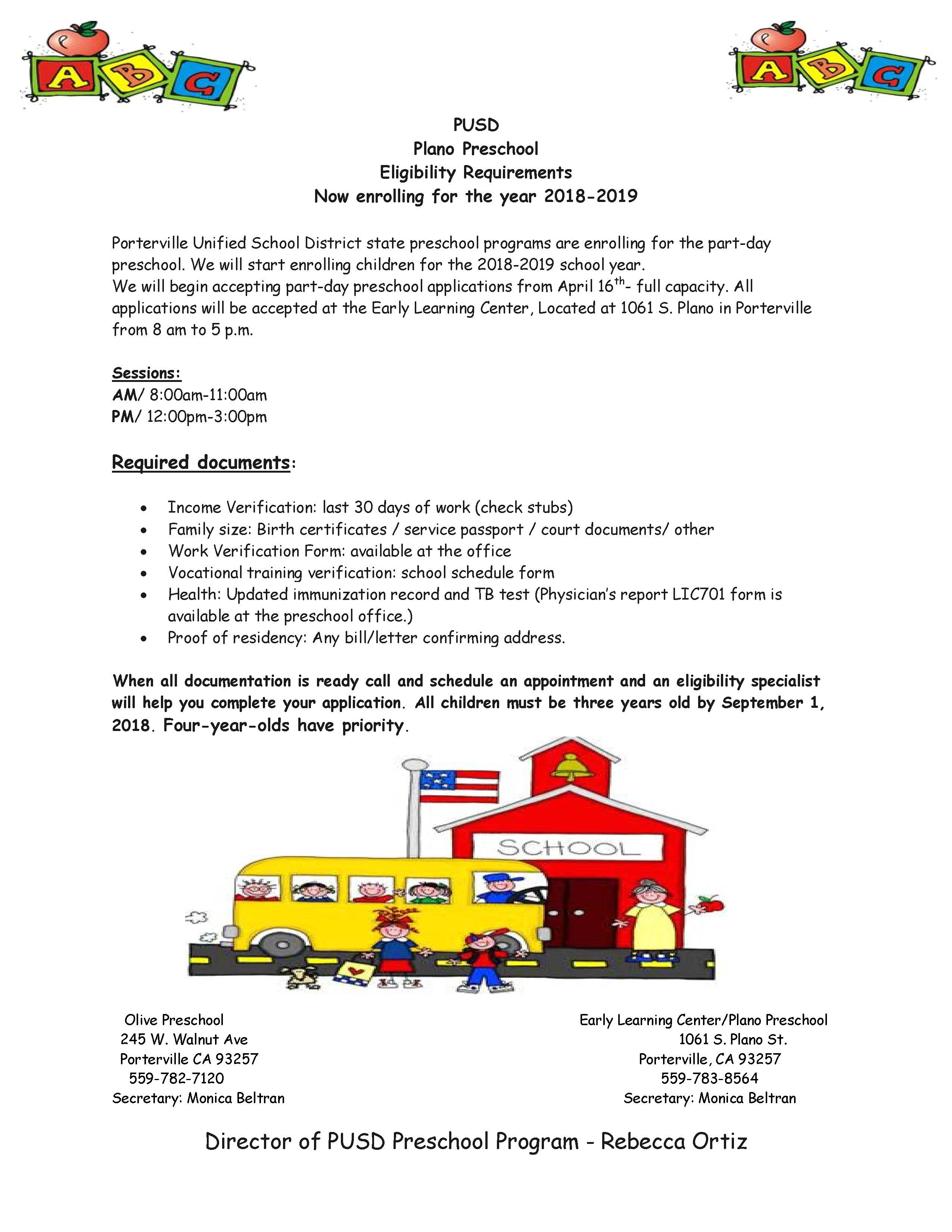 Preschool Programs Information  Preschool Programs  Porterville