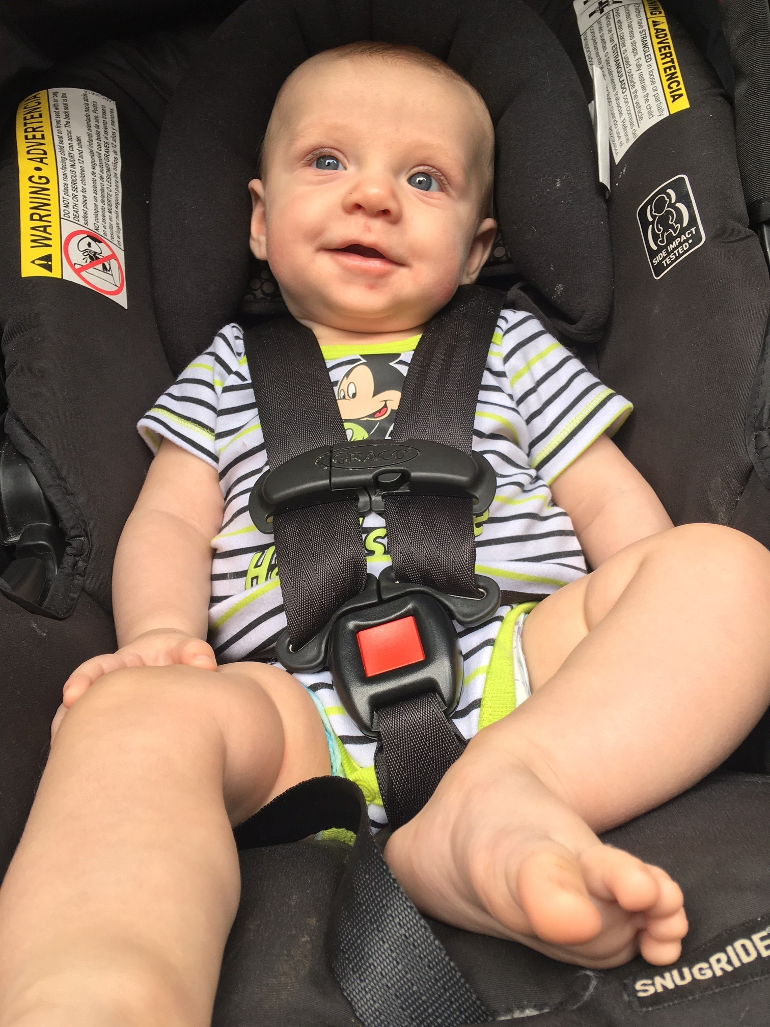 Kolten likes going for rides in his carseat.