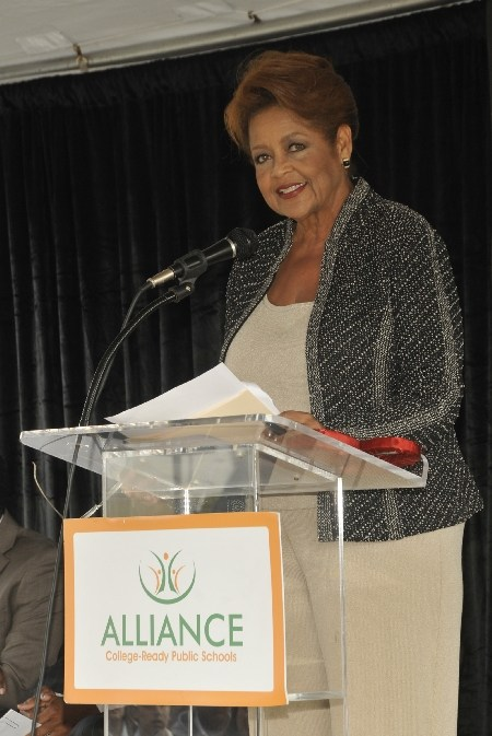 Ms. Judy Burton delivering a speech