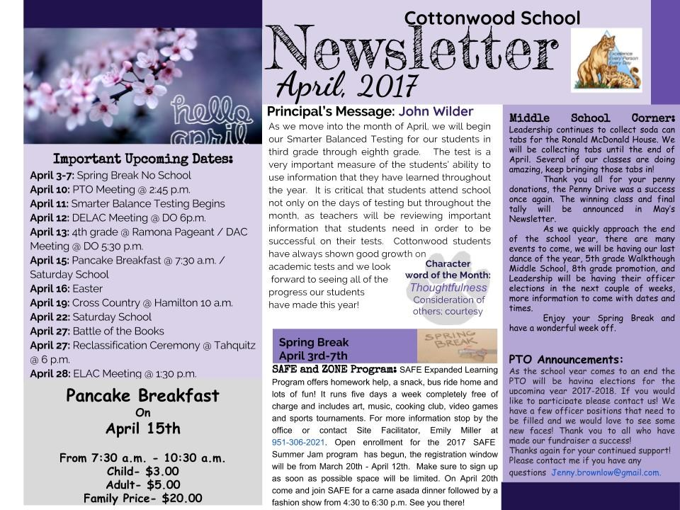 April Newsletter in English.