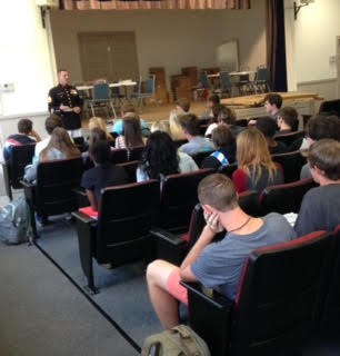 pic of students listening to marine recruiter