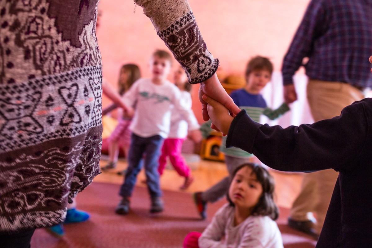 Kindergarten holding hands