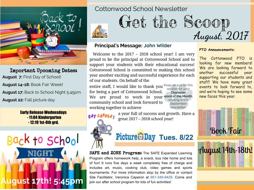 August Newsletter. Includes upcoming dates and a statement from the principal.