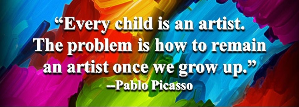 Picasso quote on colorful background