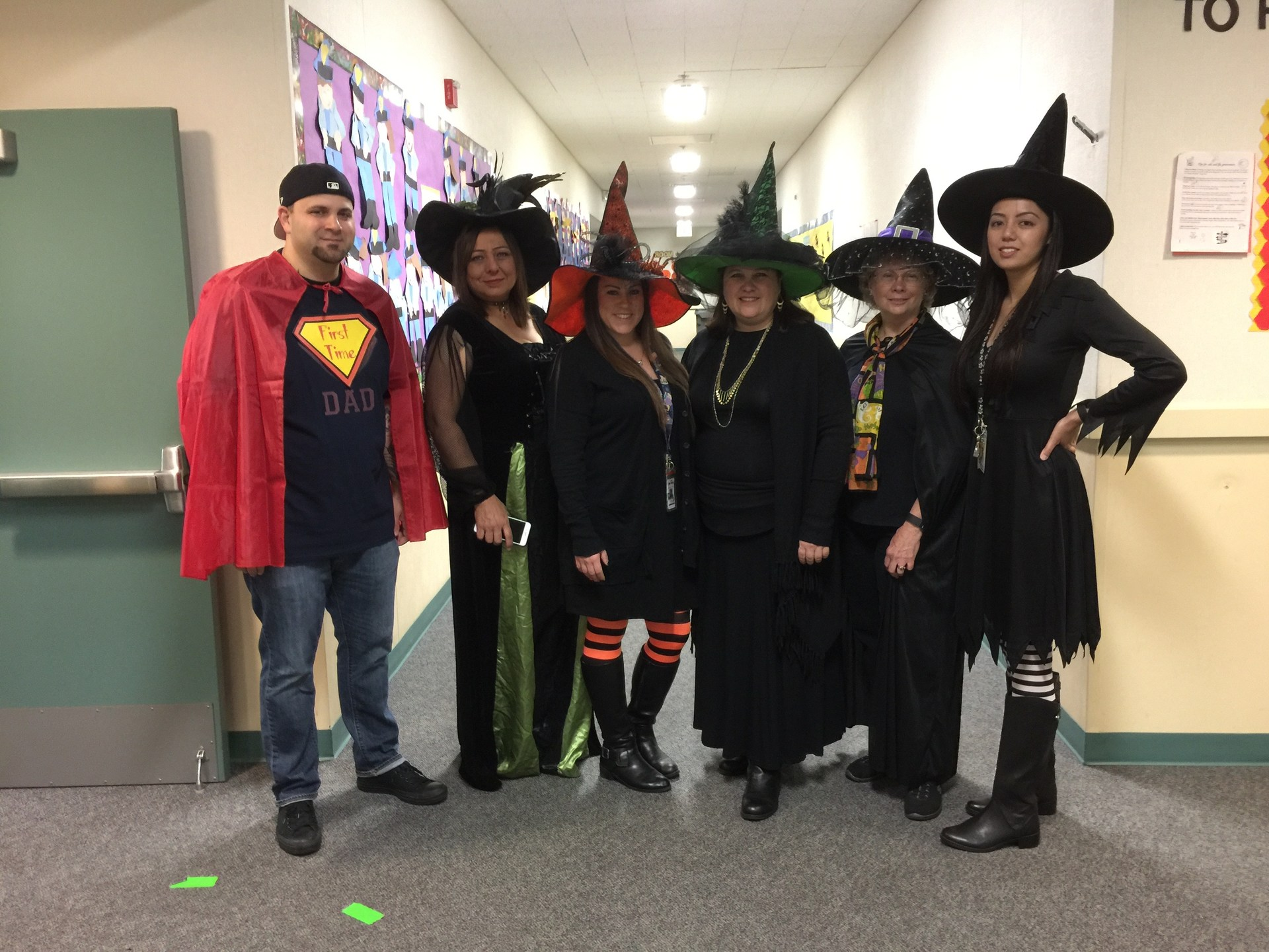 Kindergarten team dressed as witches and