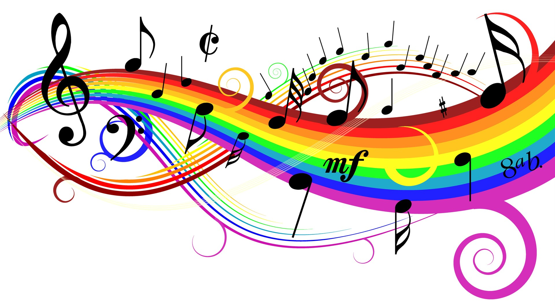Colorful rainbow music notes